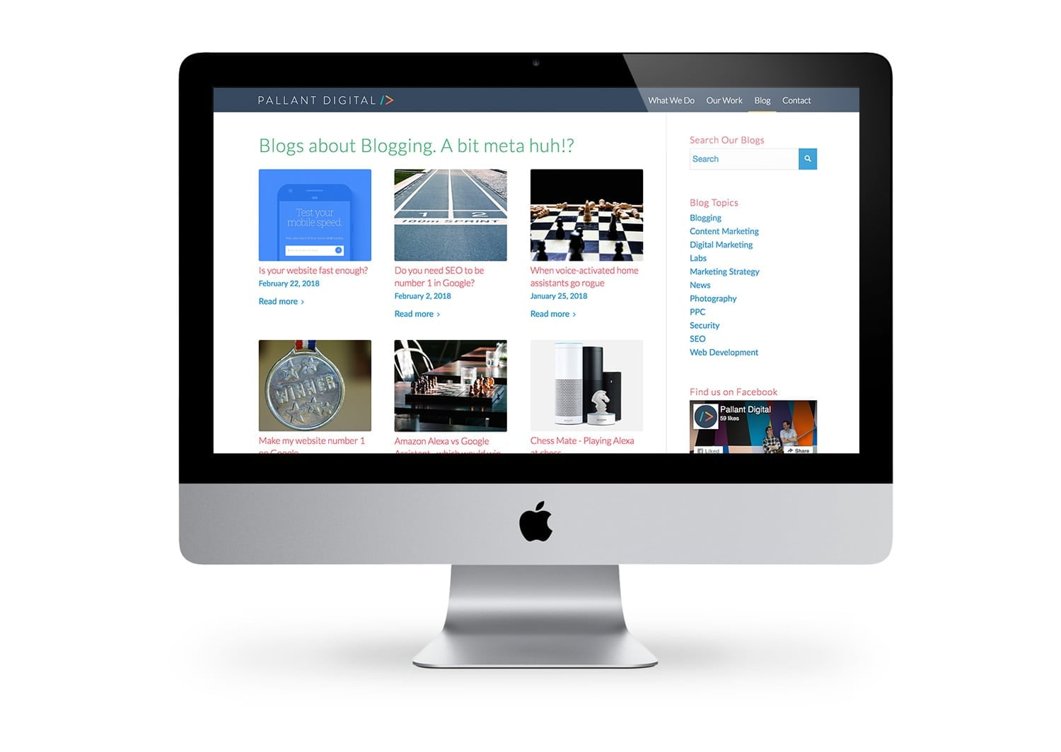 A website page showing content marketing via a blog