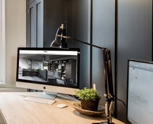 Photo of the SieMatic Chichester website show on their iMac in their studio