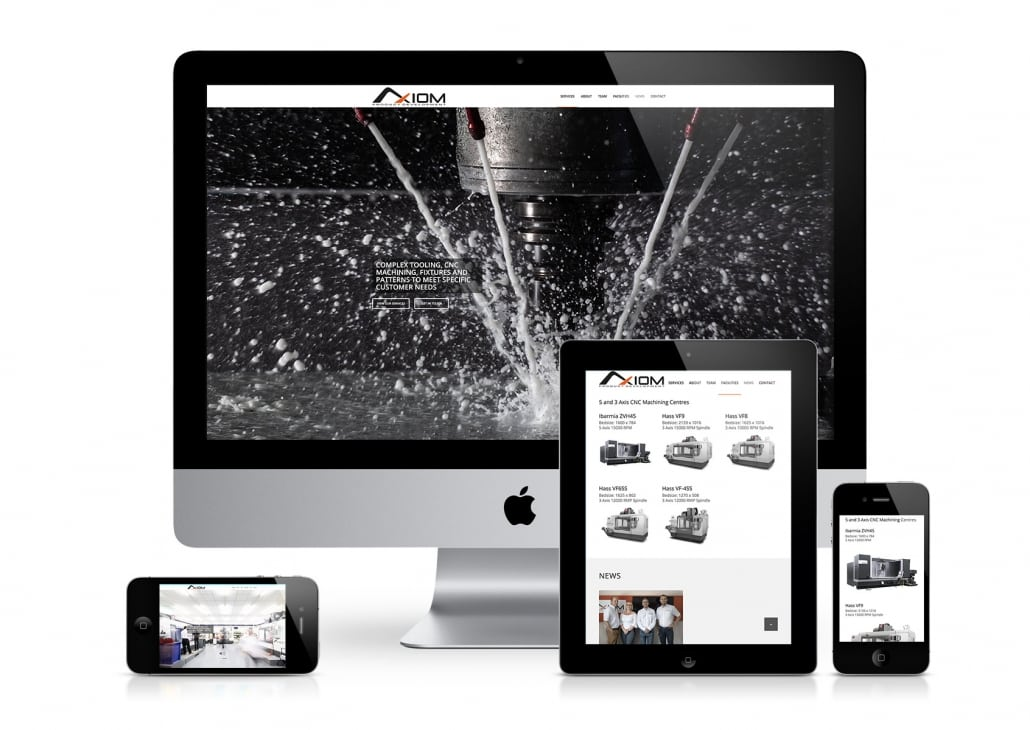 Mockup of the Axiom Product Development Website shown on Apple devices