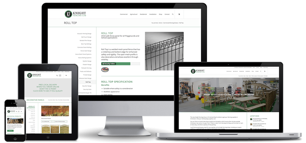 Ecommerce website for knight fencing by Pallant Digital